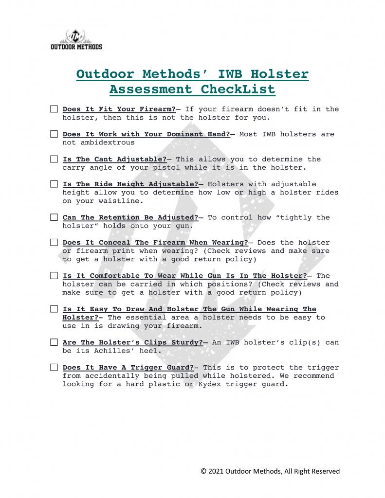 Best IWB Holster Checklist